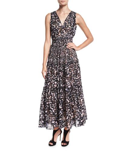 Oleander Leopard-Print Silk Maxi Dress, Black Combo
