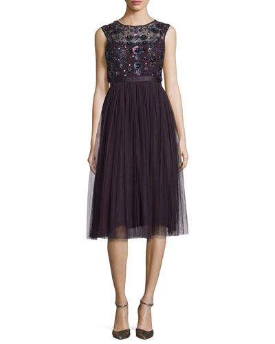 Floral-Embellished Tulle Midi Dress, Aubergine