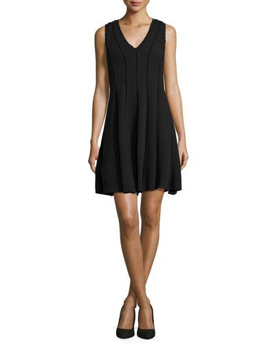 Diamond-Texture Sleeveless Dress