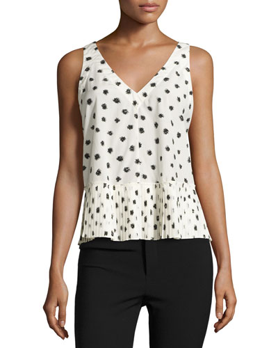 Dandelion-Print Sleeveless Top, Chalk/Black