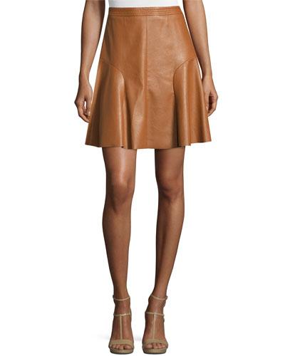 Faux-Leather A-Line Skirt, Cognac