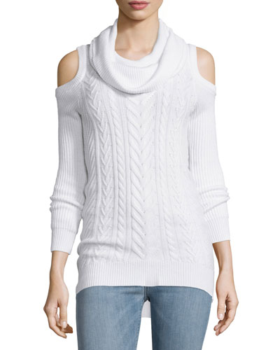 Cotton Cable-Knit Cold-Shoulder Sweater, Swan