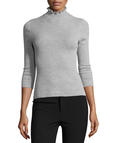 Merino Wool Mock-Neck Sweater, Light Gray Heather