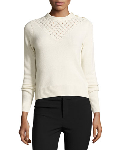 Pointelle-Yoke Pullover Sweater, Ecru