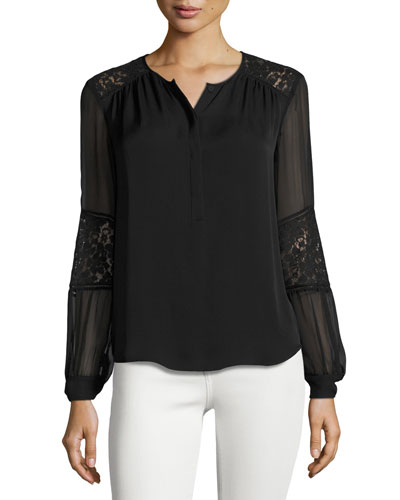Sarah Lace-Inset Top, Black