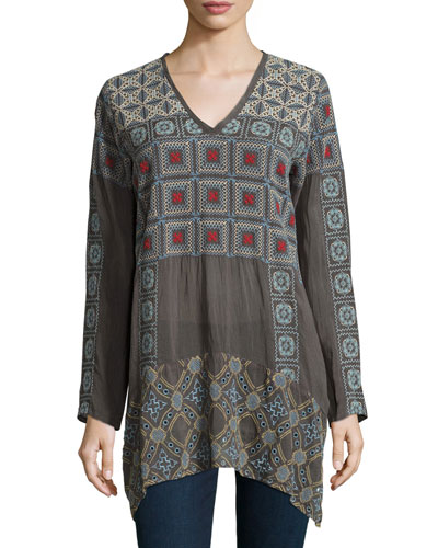 Geometric Embroidered Long-Sleeve Tunic, Plus Size