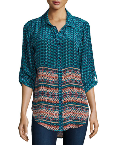 Selina Button-Front Printed Shirt, Turq, Plus Size