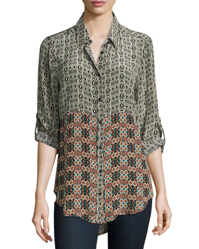 Selina Button-Front Printed Shirt, Ikat, Plus Size