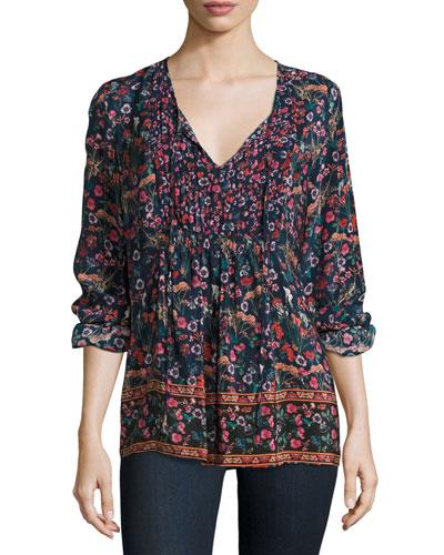 Sonya Floral-Print Easy Silk Tunic, Botanical, Plus Size
