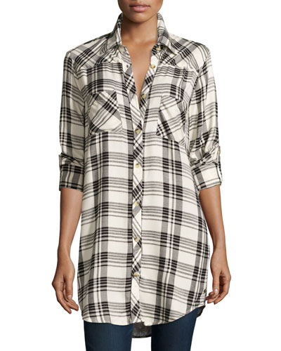Tina Long-Sleeve Plaid Tunic, Plus Size