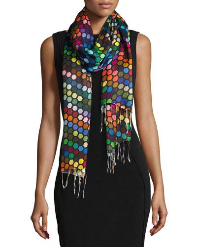 Multicolor Hexagon Silk Scarf
