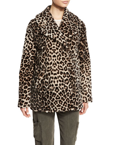 Stone Leopard-Print Shearling Coat