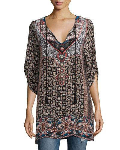 Lexi Printed V-Neck Tunic, Ebony, Plus Size