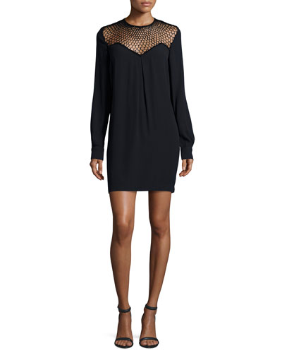Tate Mesh-Trim Shift Dress, Black
