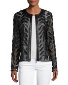 Leather Leaf-Trimmed Sheer Organza Jacket, Black