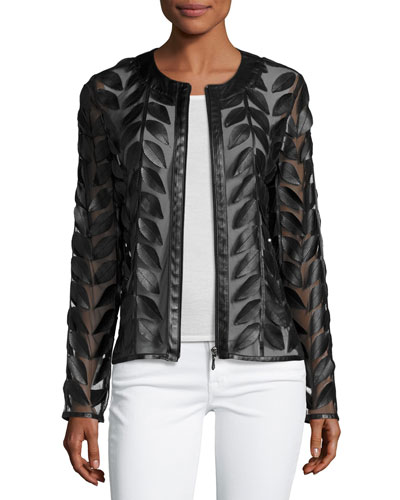 Leather Leaf-Trimmed Sheer Organza Jacket, Black