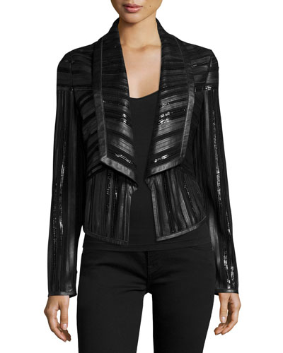 Cropped Leather Strip Combo Jacket, Black