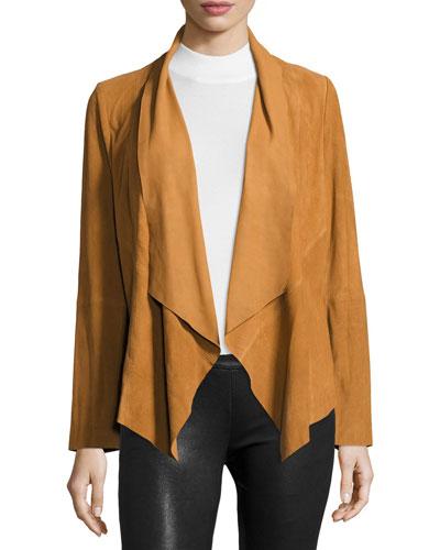 Draped Suede Jacket, Camel