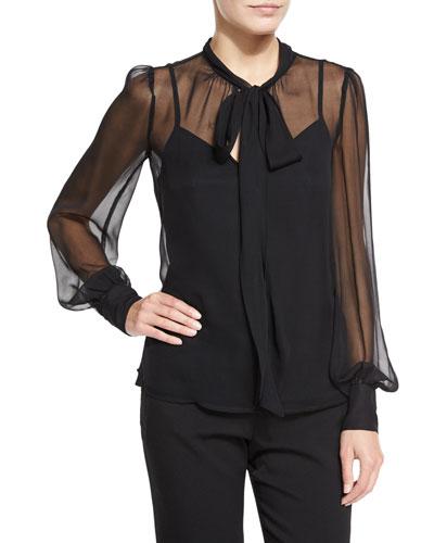 Long-Sleeve Silk Chiffon Tie-Neck Top, Black