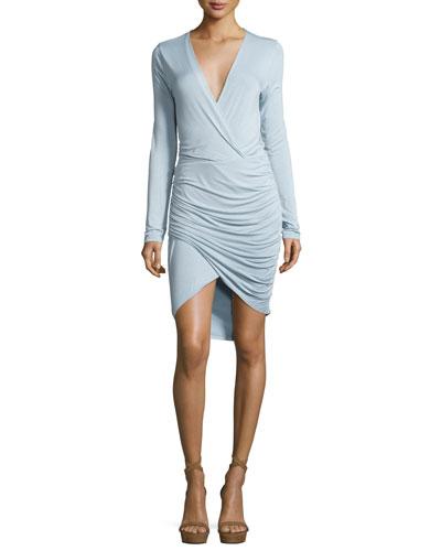 Lex Jersey Surplice Ruched Dress, Light Blue