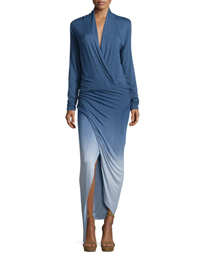 Brielle Surplice Jersey Maxi Dress, Blue Ombre