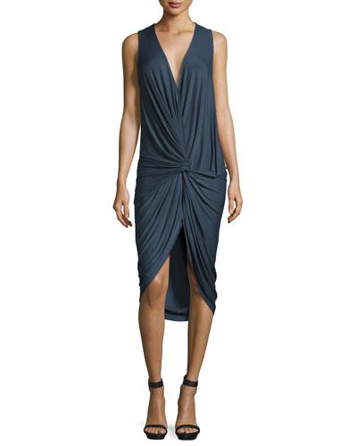 Palomo Twist-Front Jersey Dress, Indigo