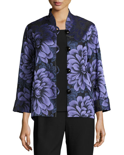 Flower Show Boxy Jacket, Blue/Purple, Petite