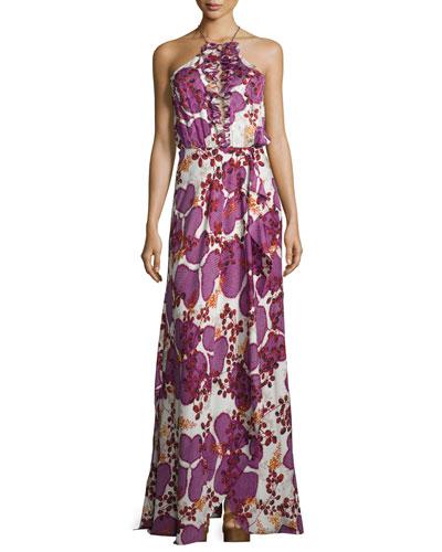 Veronnica Floral-Print Halter-Neck Gown, Impromptu Amethyst
