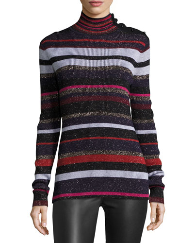 Leela Metallic Button-Neck Sweater, Royal Navy Stripe