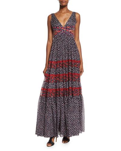 Altessa Sleeveless Prairie Maxi Dress, Pirouette Dot/Montage Rubiate