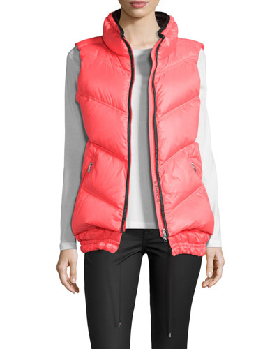 Down Puffer Vest, Neon Red