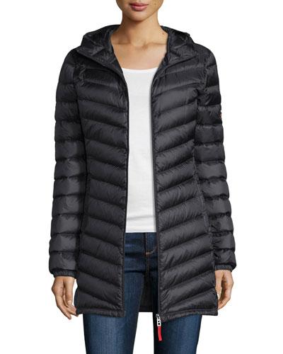 Hooded Lightweight Down Jacket, Black