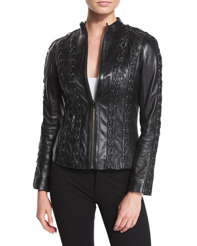Arda Cross-Stitched Leather Jacket