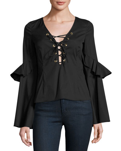 Anastasia Lace-Up Top, Black