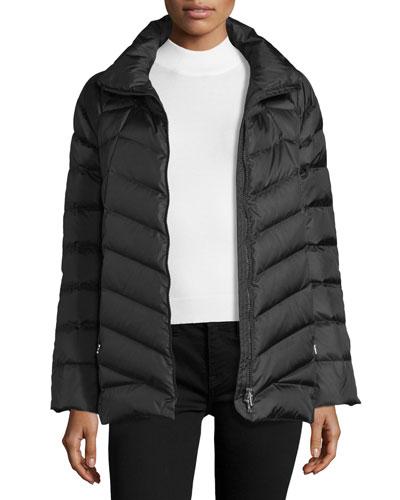 Chevron-Stitched Down Coat, Black