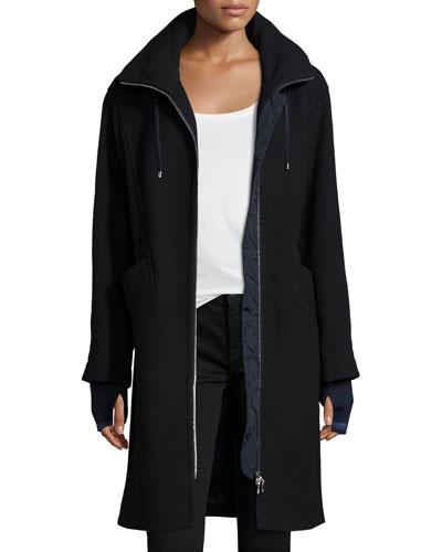 Flavia Long Zip-Front Wool Coat, Navy