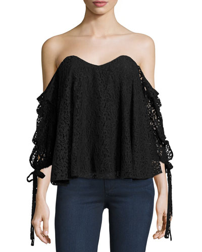 Gabriella Off-The-Shoulder Lace Bustier Top