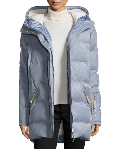 Michelin Hooded Down Coat, Platinum