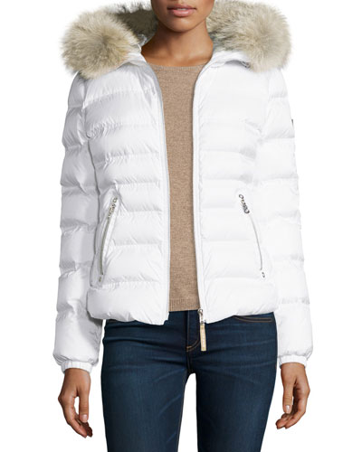 Short Hooded Down Coat w/ Fur Trim, Off White