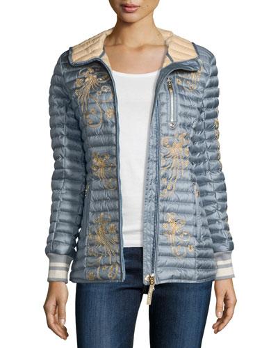 Hooded Floral Puffer Coat, Platinum