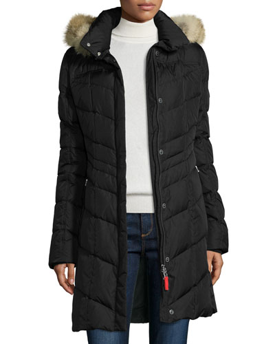 Hooded Chevron Puffer Coat, Black