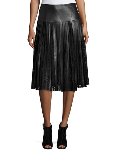 Jolene Pleated Leather & Lace Midi Skirt, Black
