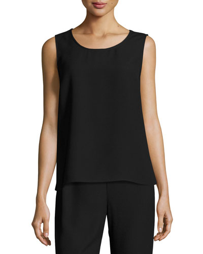 Satin-Back Crepe Tank, Black