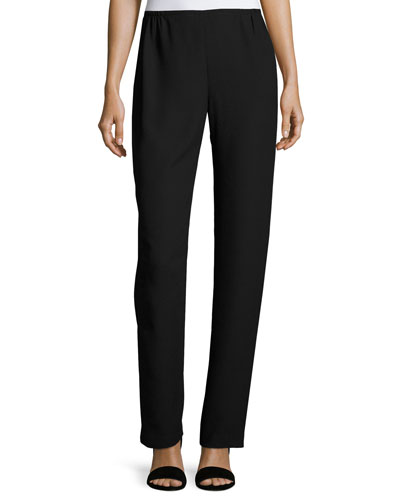 Satin-Back Crepe Straight-Leg Pants, Black, Petite