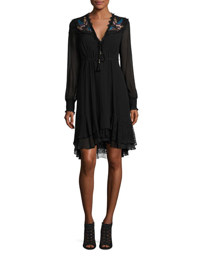 Long-Sleeve Embroidered Silk Dress, Black
