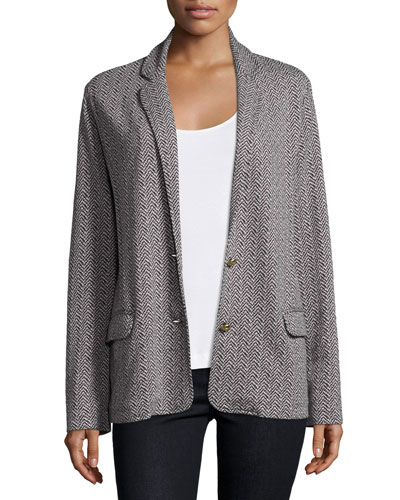 Two-Button Herringbone Blazer, Black/Ivory