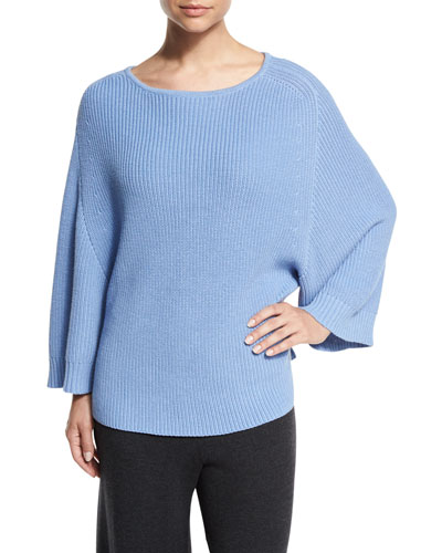 Ribbed Boat-Neck Dolman Sweater, Blue, Plus Size