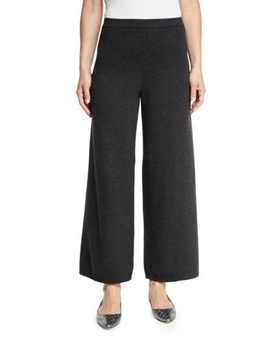 Wide-Leg Knit Pants, Charcoal, Petite