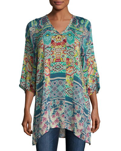 Anita 3/4-Sleeve Tile-Print Tunic, Multi, Plus Size