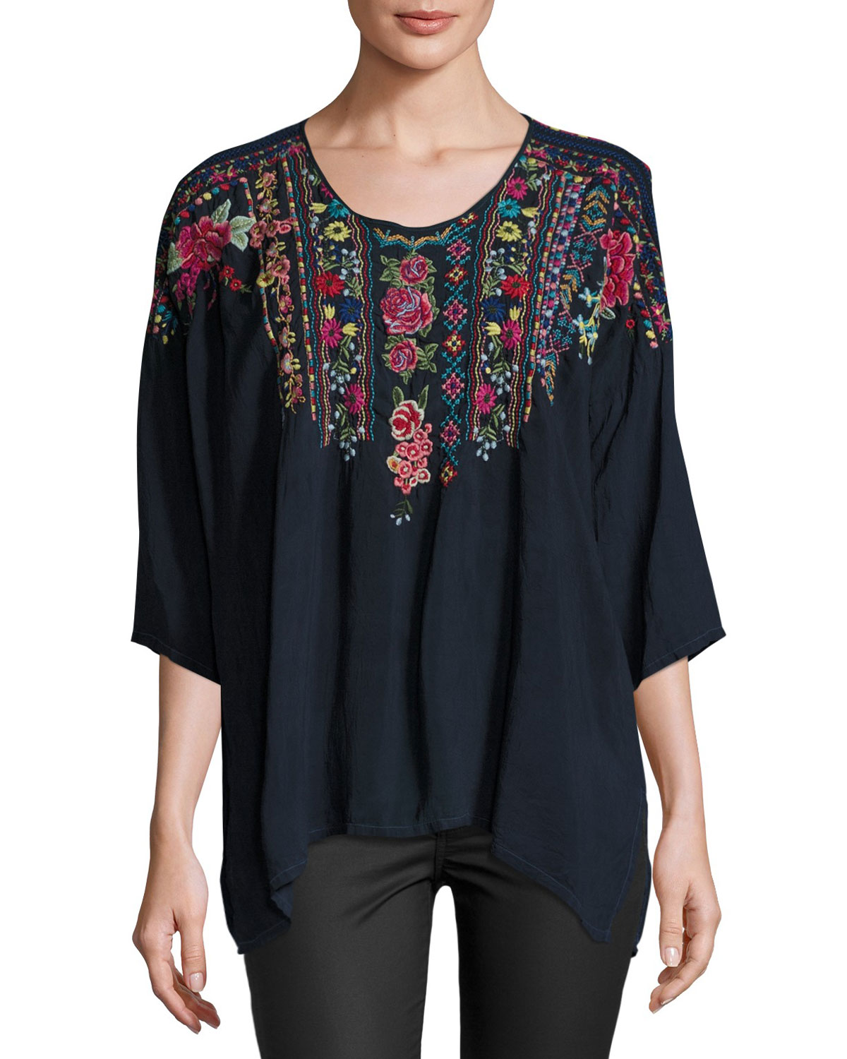 Sima Dolman-Sleeve Embroidered Blouse